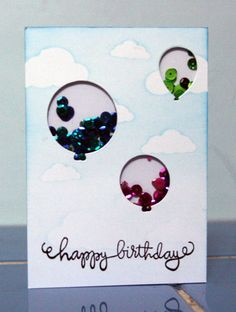 Simon Says Stamp birthday balloons for sentiment and ballon dies from Simon Says stamp and or Paper smooches and a video on how to make it Birthday Cards, Happy Birthday, Paper Smooches, Shaker Cards, Card Making Inspiration, Simon Says Stamp, Birthday Balloons, Card Tags, Birthday Celebration