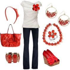 """Red Accents"" by calista1275 on Polyvore"