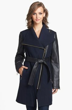 MICHAEL Michael Kors Wool Blend & Faux Leather Coat (Nordstrom Exclusive) | Nordstrom