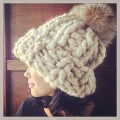 Extreme chunky beanie hat with very large fox pom by EandAHeritage