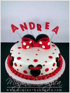 Minnie Mouse cake — Use pink and purple instead of red
