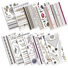eBoot 12 Sheets Metallic Temporary Tattoos 240 Shimmer Designs *** Details can be found at