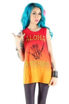 Iron Fist ALOHA BITCHES MUSCLE TEE Graphic Screen Print Art on Orange Ombre #ironfist