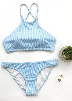 Take the beach look to a new level with this fresh stripe baby. Just relax and let the beauty of this super soft Sunny Day Pinstripe Bikini Set over you. Shop more hot pieces at Cupshe.com !