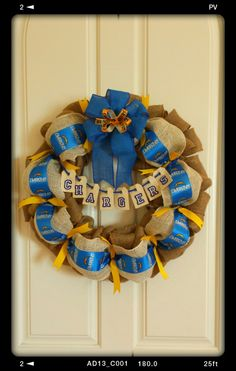 Chargers burlap wreath made by Audrey Rose