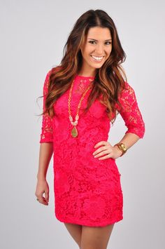 """Everyone will be saying """"Please to Chic You"""" in this Top! This gorgeous lace top has quarter sleeves and an opening in the back. This dress is made out of 100% Polyester. Hand wash cold, hang or line dry. Model is wearing a Size Medium. This dress runs small!"""