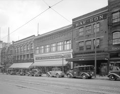 600 Block of Granville Street where Pacific Centre is now. Granville Street, Historical Images, Underwater, Vancouver, Street View, Clouds, Sky, Places, Centre