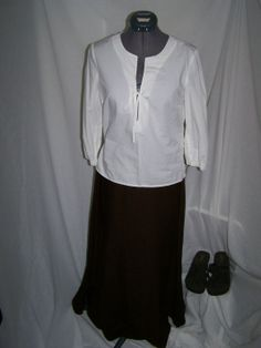 White Blouse with Long Brown Skirt and Brown Platform Shoes