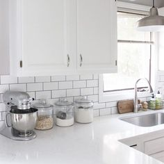 All white kitchen Instagram: @thewalkerhaven #subwaytile #baking #food #kitchen #kitchenaid #target #TargetStyle #quartz