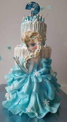 43 Ideas For Birthday Food Frozen Kids Elsa Birthday Cake, Frozen Birthday Party, Princess Birthday, Birthday Kids, Bolo Elsa, Elsa Cakes, Elsa Frozen Cake, Frozen Pinata, Frozen Doll Cake