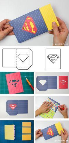 para todos los niños su papá y mamá son súper héroes, por eso no se me ocurre mejor ideapara regalar el Día el Padre o el Día de la Madre que esta tarjeta con el logo de Superman