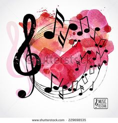 Music Background, Poster Template. Watercolor Heart With Music Notes. I Love Music Card. Vector Design.  - 229698535 : Shutterstock