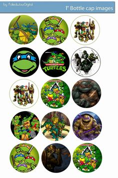 Free Bottle Cap Images: Tenage Mutant Ninja turtles free digital bottle ca. Bottle Cap Necklace, Bottle Cap Art, Bottle Cap Crafts, Bottle Top, Bottle Cap Images, Ninja Birthday Parties, Ninja Turtle Birthday, Ninja Turtle Party, Free Bottlecap Images