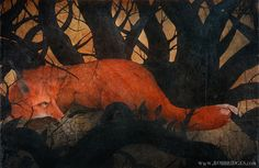 A Fox Through A Dark Wood  First Edition RePainted by robbridges, $110.00