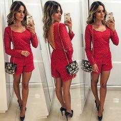 Instagram media by reuchoam - Look de hoje: macaquinho de guipir da @vankoke ❤️❤️{amando usar vermelho esses dias} #ootd #looksreuchoa #ladyinred