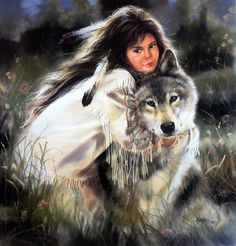 """Native American women befriends Wolf Open Edition Poster Image Size 23""""W x 24""""H"""