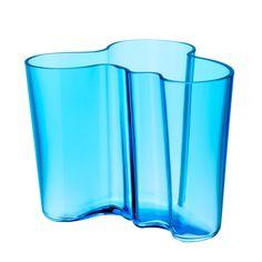 Aalto Vase by Alvar Aalto, 1936 for Iittala: Fresh in turquoise!  #Aalto_Vase #Glass #Alvar_Alto #IIttala