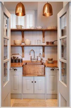 Original Artisan kitchen (Pearl with oak worktops and hand beaten copper sink) John Lewis of Hungerford - Blackheath