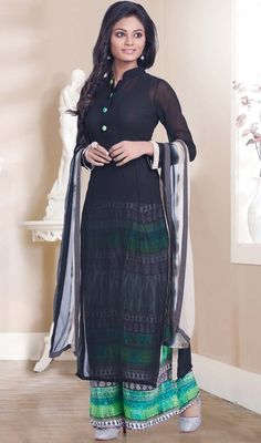 Grab the attention of everyone in the room draped in this black color georgette palazzo suit. This enticing attire is displaying some brilliant embroidery done with lace work. Palazzo Dress, Palazzo Style, Palazzo Suit, Salwar Suits, Salwar Kameez, Georgette Fabric, Mandarin Collar, Party Wear, Fabric Design