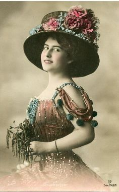 Original French vintage hand tinted real photo postcard - Lady with big hat - Victorian Paper Ephemera