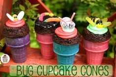 Bug Cupcake Cones - caterpillar, bumblebee, butterfly, worms, spider, lady bug ... (Earth Day)