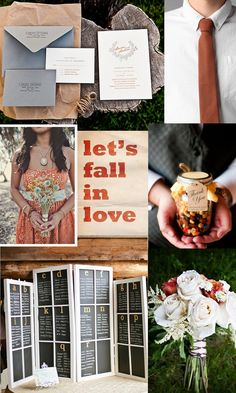 Love this chalk board idea for the guest table sitting. Colors will be good for a fall wedding, burnt orange and gray - swtich grey to light grayish-purple