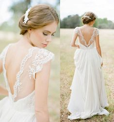 Vintage cap sleeve lace chiffon V neck beach white ivory wedding dress custom