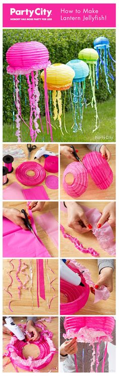 How to make fun floating jellyfish from paper lanterns! Our pictorial tutorial shows clever ways to make the tentacles from 5 different choices of materials. be cute for little kids class room