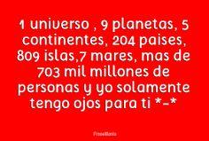 Resultado de imagen de 1 universo 9 planetas 204 paises 5 continentes 809 islas 7 mares
