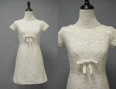 1960s White Brocade Mini Dress  Wedding by LittleGhostVintage, $58.00