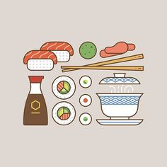 """makers_co: """"Ok... enough American... Let's have some #sushi #vector #illustration #flatvector #lineicon #icons #icon #iconography #food #japanese #makers_co"""""""