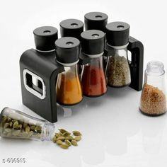 Glassware & Drinkware Spice Rack With 6 Jars  *Material* Plastic  *Description* It Has 1 Set Of Spice Rack With 6 Jars  *Sizes Available* Free Size *   Catalog Rating: ★4 (126)  Catalog Name: Free Gift Finelure Basic Kitchen Utilities Vol 4 CatalogID_67849 C136-SC1603 Code: 544-606915-