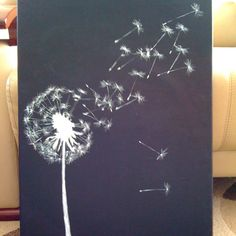 walls with painted dandelion | Dandelion ( canvas & acrylic ) was painted by me, flowersbyanastasia@ ...