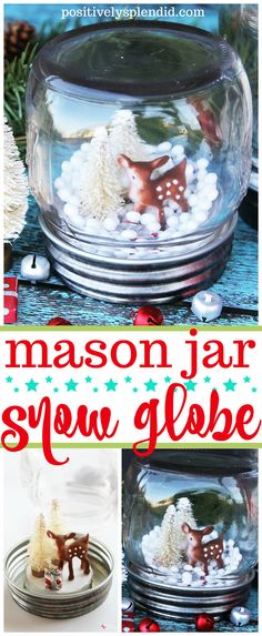 Jar Snow Globe - quick and easy DIY holiday craft idea! -Mason Jar Snow Globe - quick and easy DIY holiday craft idea! Wine Bottle Crafts, Mason Jar Crafts, Mason Jar Diy, Holiday Crafts, Christmas Crafts, Christmas Ideas, Christmas Ornaments, Christmas Decorations, Christmas Snow Globes