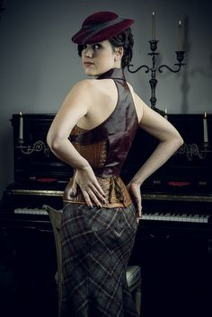 Fall 2013 Dark Garden Unique Corsetry collection shoot at Salle Pianos.  Euphrates Dahout in custom leather corset with separate buckle lapel piece and bias-cut plaid skirt.  © Joel Aron. All rights reserved. by Dark Garden, via Flickr