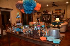 "Photo 1 of 27: Orange and Turquoise / Baby Shower/Sip & See ""Ashley Jolly's ""Things that POP!"" "" 