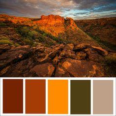Fall / Autumn Color Palette l Paint Color Ideas l Color Design Sunset Color Palette, Create Color Palette, Fall Color Palette, Sunset Colors, Colour Pallete, Colour Schemes, Color Palettes, Yarn Color Combinations, Mountain Sunset
