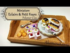 Miniature French Pastries; Madeleines, Millefeuille, & Profiteroles polymer clay tutorial - YouTube