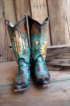 ☮ American Hippie Bohéme Boho Style ☮ Turquoise Boots