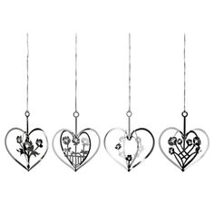 Silver hearts with flowers in 4 designs pack of 4 Different Flowers, Flower Designs, Delicate, Christmas Decorations, Holiday, Hearts, Museum, Seasons, Image