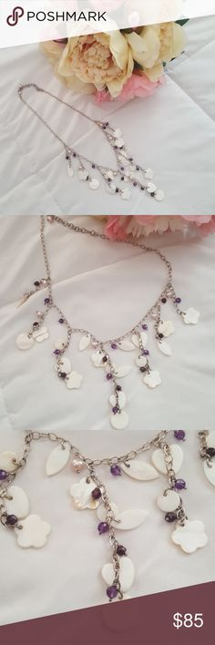 💎Hand crafted silver and shell necklace💎 NWOT. Never been worn. Hand crafted silver and shell jewelry.  This one has purple beads too.  Coordinating earrings in a separate listing in my closet.  Combine for 15% bundle discount.  From local maui store that closed a few years ago.  J100 Jewelry Necklaces
