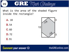 GRE Math Challenge #29 : What is the area of the shaded figure inside the rectangle? - Online GRE Revised