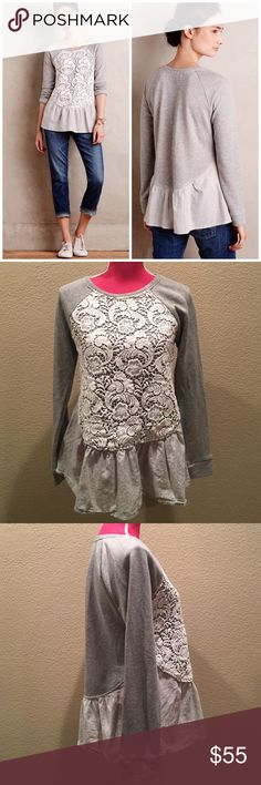 Sunday in Brooklyn 'Meja' Gray Pullover Sweater Adorable sweater thats great to add with jeans and look great! Pre-worn but overall great condition. Sweater top and blue shirt stripe bottom. 100% cotton. Offers welcome through offer tab. No trades. 11208161801 Anthropologie Sweaters