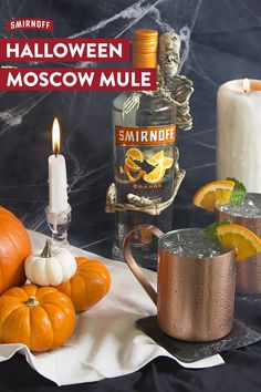 This wickedly smooth Smirnoff Orange cocktail is perfect for every costume party, haunted house and graveyard this Halloween. Recipe: 1.5oz of Smirnoff Orange, 4oz Ginger Beer, 1 Orange wedge, and mint for garnish.