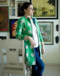 Image result for long handloom jacket for women