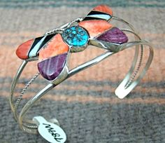 Item #789W- Navajo Multistone Inlay Butterfly Bracelet by L.Lincoln