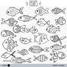 Get some adorable hand drawn houses clipart, perfect for … - Geburtstag Fish Drawings, Outline Drawings, Doodle Drawings, Easy Fish Drawing, Outline Images, Fish Drawing For Kids, Fish Outline, Drawn Fish, Outline Illustration