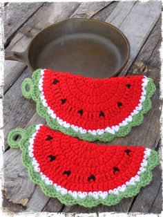 Crochet Watermelon Pot Holders Set of 2 Hot by CountryLifeisBest