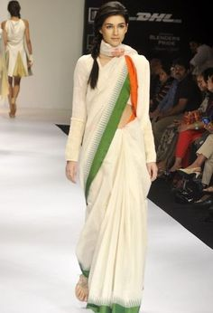 purvi doshi patriotism collection. A saree which comprises of indian flag colors. super chic