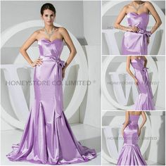 Aliexpress.com : Buy Latest Style Trumpet Sweetheart Sweep Train Satin with Bow Evening Dresses from Reliable satin evening dress suppliers on HONEYSTORE CO., LIMITED $246.60